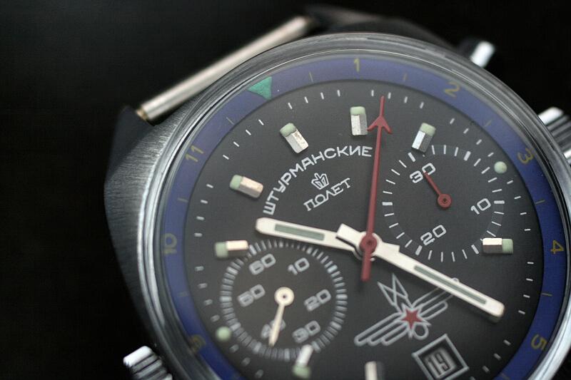 Poljot chronograf Szturmanski czarno nieb 8m8