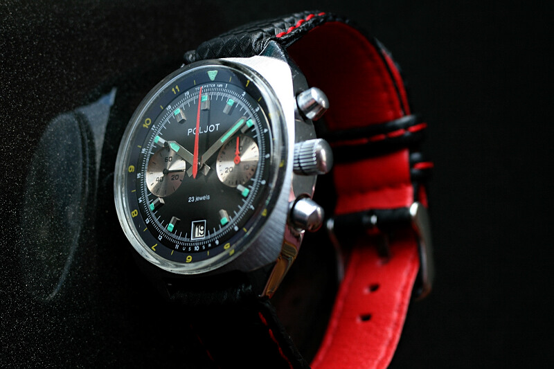 Poljot chronograf czarny 2m8
